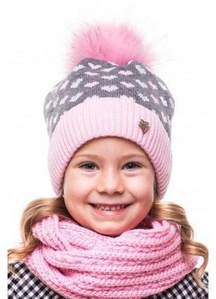 Зимняя шапочка, шапка для девочки, зимова шапка, внутри на флисе на ог 48-52, 1,5-5 лет