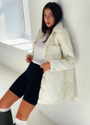 Стёганная куртка-рубашка на флисовой подкладке 1457
