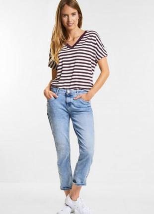 Качественная стильная футболка oversize в полоску из вискозы street one, размер 36 евро
