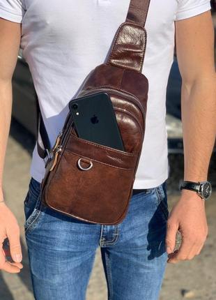 Мужская кожаная сумка - слинг / барсетка