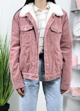 Шикарная розовая теплая  вельветовая куртка шерпа на меху