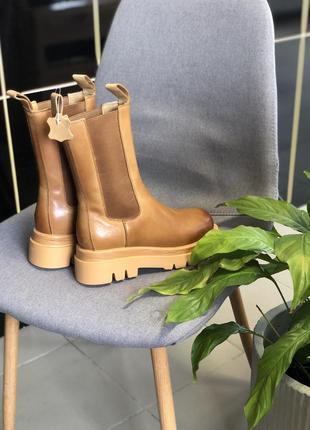 Кожаные сапоги по типу bottega
