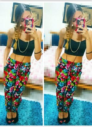 Скидка # # # новые чудесные летние брюки в цветочный принт  р. xs,  s