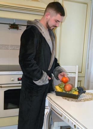 Мужской махровый халат, теплый мужской халат длинный, двухцветный