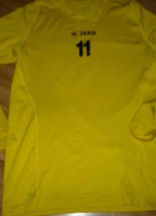 Реглан лонгслив футболка мужская спортивная номер 11 l jako желтая