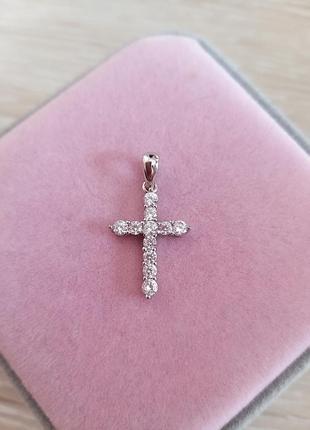 Серебряный крестик с кубическим цирконием, кулон, подвес, фианиты, серебро