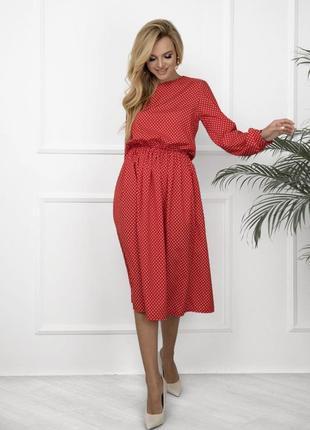 Платье в горошек с длинными рукавами