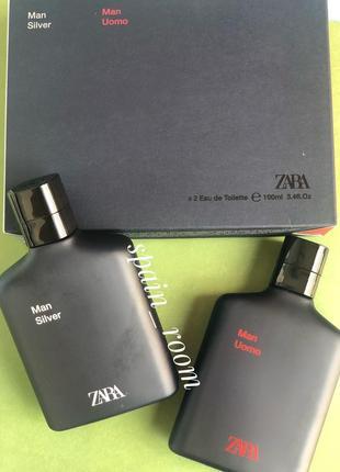 Мужские духи в наборе zara silver/uomo /чоловічі парфуми/туалетна вода /парфюм