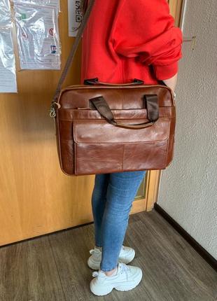 Коричнева сумка для ноутбука з натуральної шкіри :)