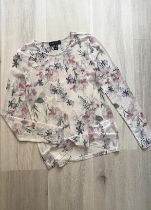 Топ сетка полупрозрачная лонгслив напівпрозора блуза лонгслів в квітковий принт сітка s