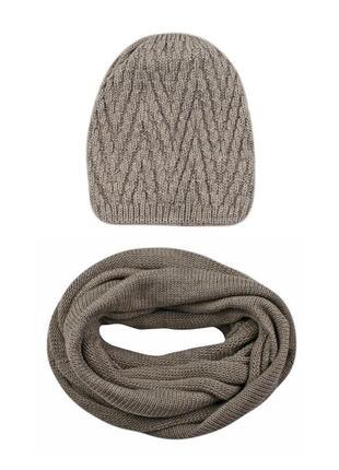 Тёплый вязаный женский зимний комплект шапка и шарф снуд