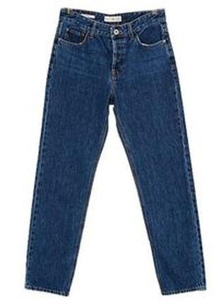 Плотные синие джинсы с подворотами необработанным краем снизу бойфренды мом джинс