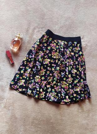 Красивая плотная юбка высокая талия на резинке в цветочный принт