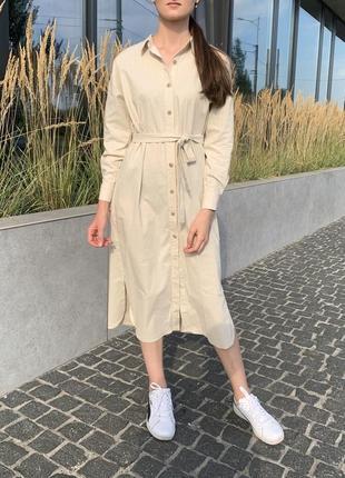 Платье рубашка / платье бежевое / платье с поясом