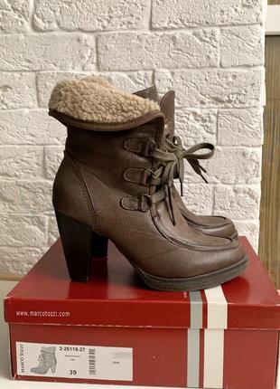 Демисезонные женские ботинки полуботинки сапожки на устойчивом каблуке с отворотом на меху