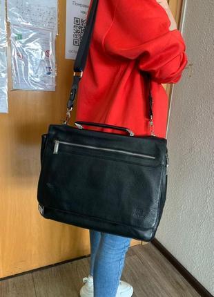 Мега вмісткий чоловічий портфель з натуральної шкіри