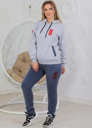 Теплый женский спортивный костюм из трикотажа (347)