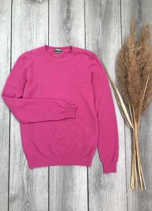 United colors of benetton свитер шерстяной кофта яркий розовый s 36 8 100% шерсть