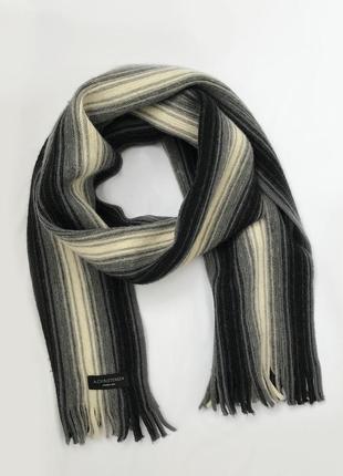 Amanda christensen тёплый шерстяной шарф мужской германия белый серый чёрный в полоску