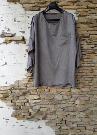 Вискозный с лампасами на плечах и одним карманом блузон большого размера италия