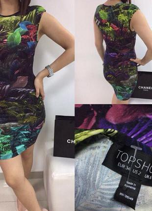 Платье с тропическим принтом topshop