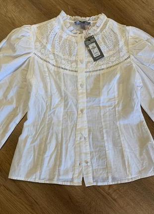 Белая выбитая блуза с объемными рукавами