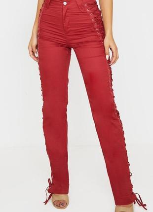 Новые хлопковые брюки со шнуровкой по боковому шву prettylittlething