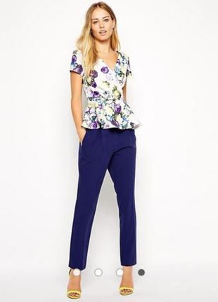 Топ кофточка блуза с цветочным принтом с баской asos