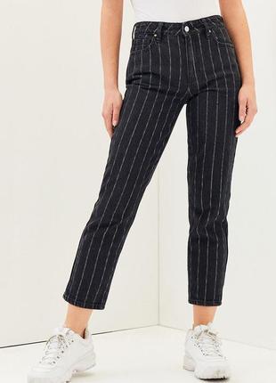 Укорочені джинси штани в полоску з високою посадкою