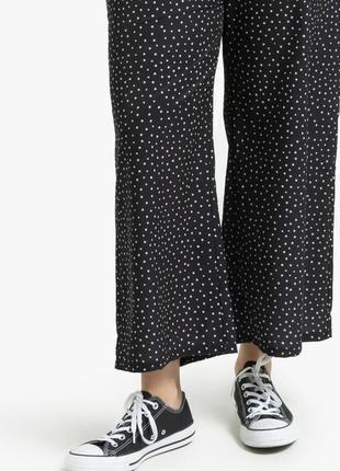 Большой размер натуральные   широкие укороченные брюки в горошек  eur 52/54 donna forte