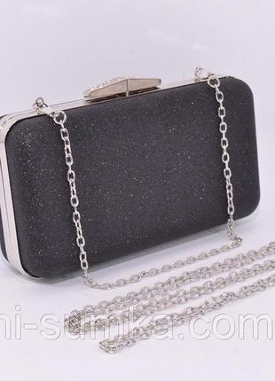 Вечерний клатч rose heart 09829 черный с блестками, сумочка на цепочке