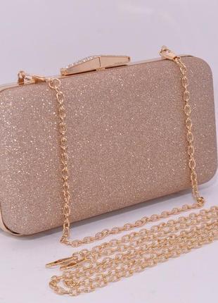 Вечерний клатч rose heart 09829 бежево-золотистый (цвета шампанского), сумочка на цепочке