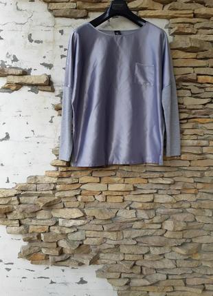 Комбинированныйс одним карманом блузон большого размера