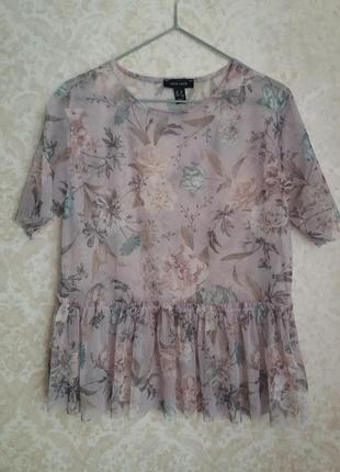 Стильная блуза в сетку с цветочным принтом от new look
