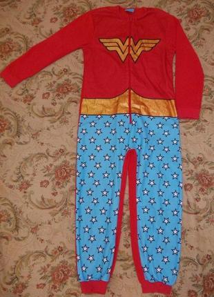 Пижама кигуруми слип человечек супер девочка на 8-9 лет рост 128-134 см