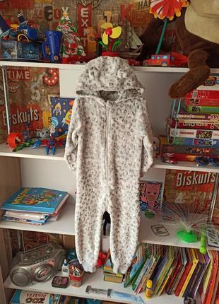 Плюшевая пижама кигуруми next леопард на 2-3 года,  92-98 см