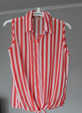 Яркая шифоновая блуза рубашка в полоску без рукавов