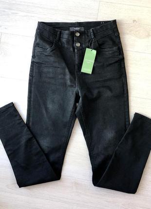 Новые черные джинсы скинни reserved штаны брюки хлопковые