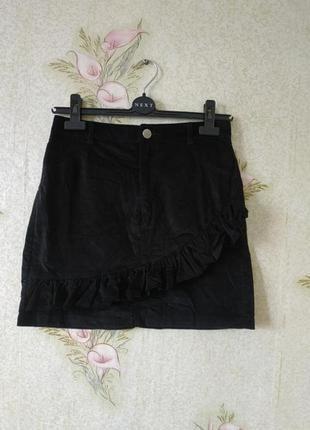 Чёрная женская юбка # котоновая юбка # юбка с воланом # papaya
