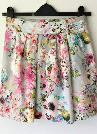 River island хлопковая цветочная мини юбка, р.8-34