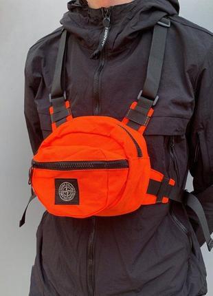 Поясна сумка stone island orange ripstop bag