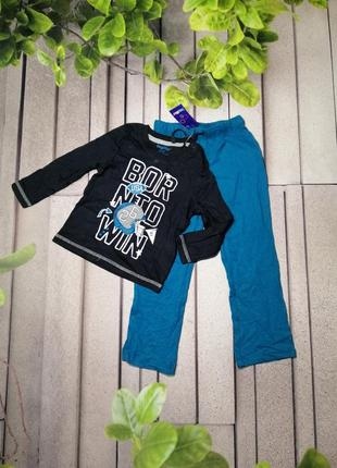 Хлопковая пижама для мальчика лонгслив и штаны