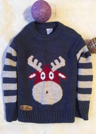 Новогодний свитерок с оленями на 2 года