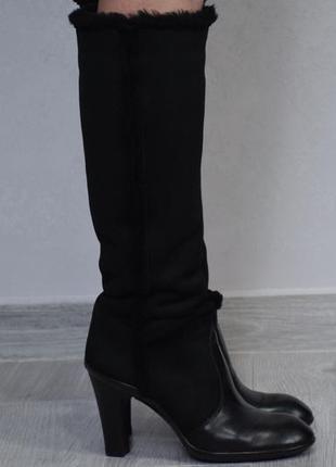Hogan сапоги ботинки женские кожаные зимние на каблуке. италия. оригинал. 38-39 р./25 см.