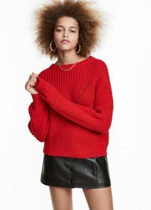 Красный свитер оверсайз крупной вязки h&m