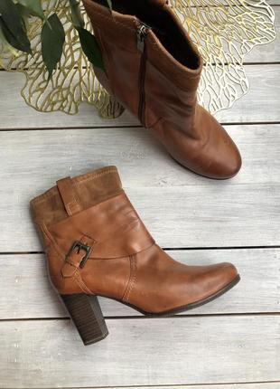 Marco tozzi кожаные полусапоги, ботинки на каблуке