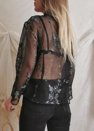 Винтажная рубашка из органзы с вышивкой