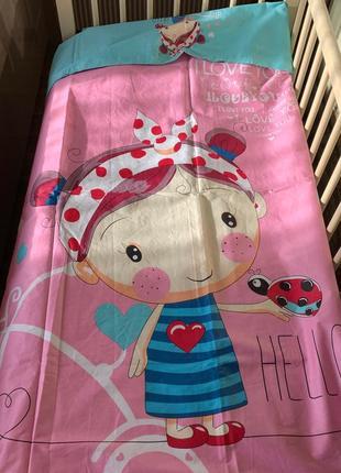 Постельное белье в кроватку для новорожденных 110*140 3d девочка