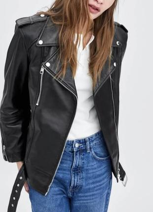 Zara кожаная куртка косуха , s-m