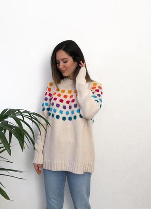 Кремовый свитер в горошек next knitwear